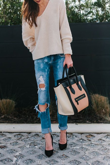 SLOUCHY SWEATER + DISTRESSED DENIM UNDER $100