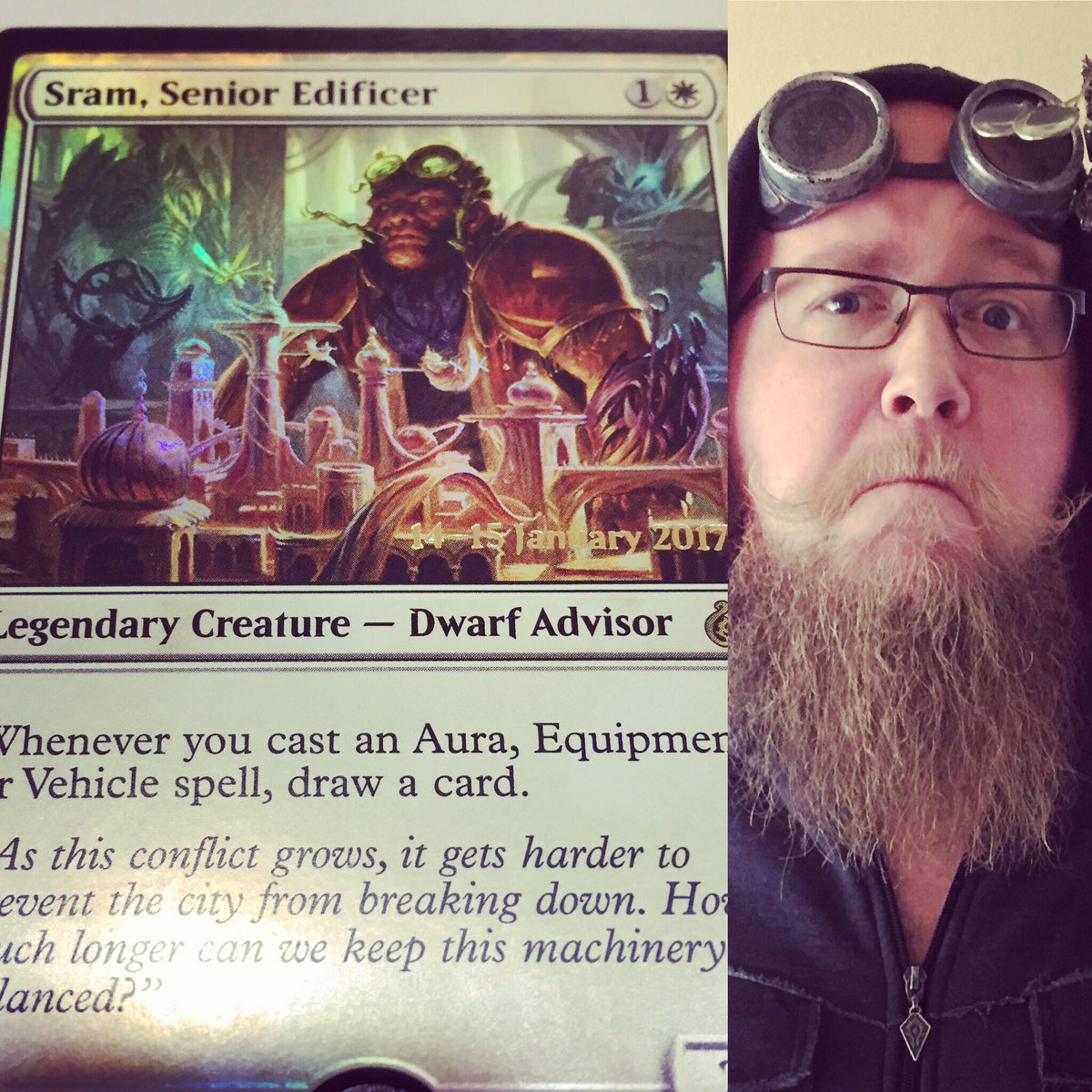 Got my Artificer's Goggles upon graduation from the Sram School of Technology! #MTGAER @wizards_magic https://t.co/c3FdkJ9ZA7