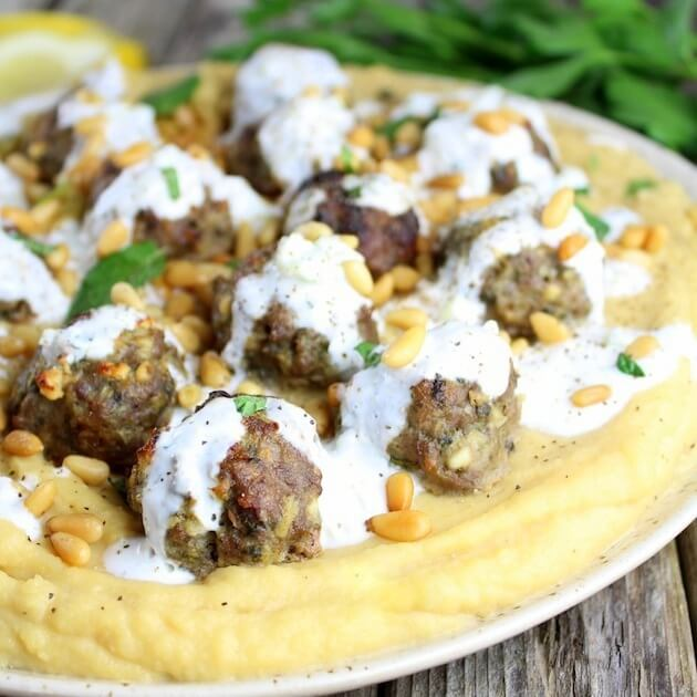 Lamb Meatballs With Fava And Tzaziki