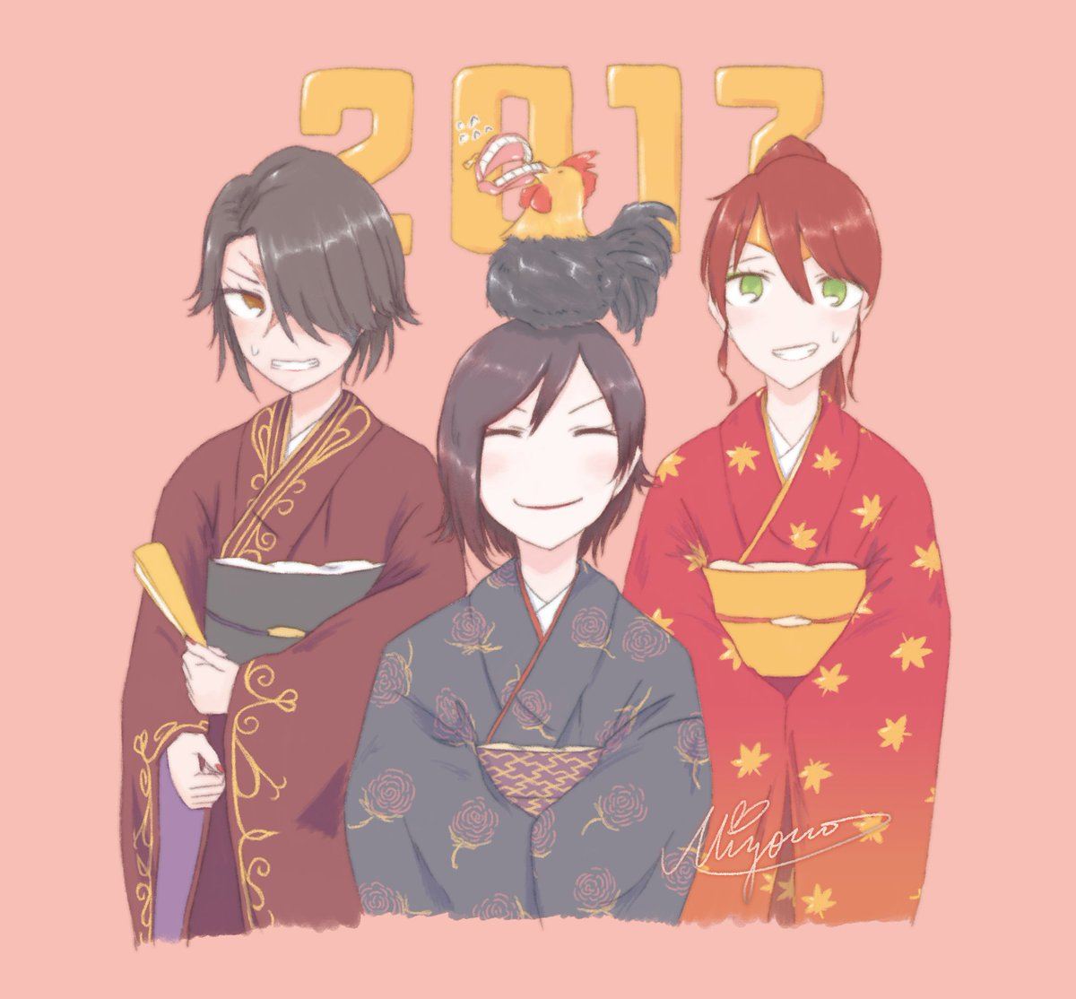 I&#39;m so very late for new year greetings! But just now I managed to draw it! Happy new year 2017 #RWBY <br>http://pic.twitter.com/9ZqRLl6Wof