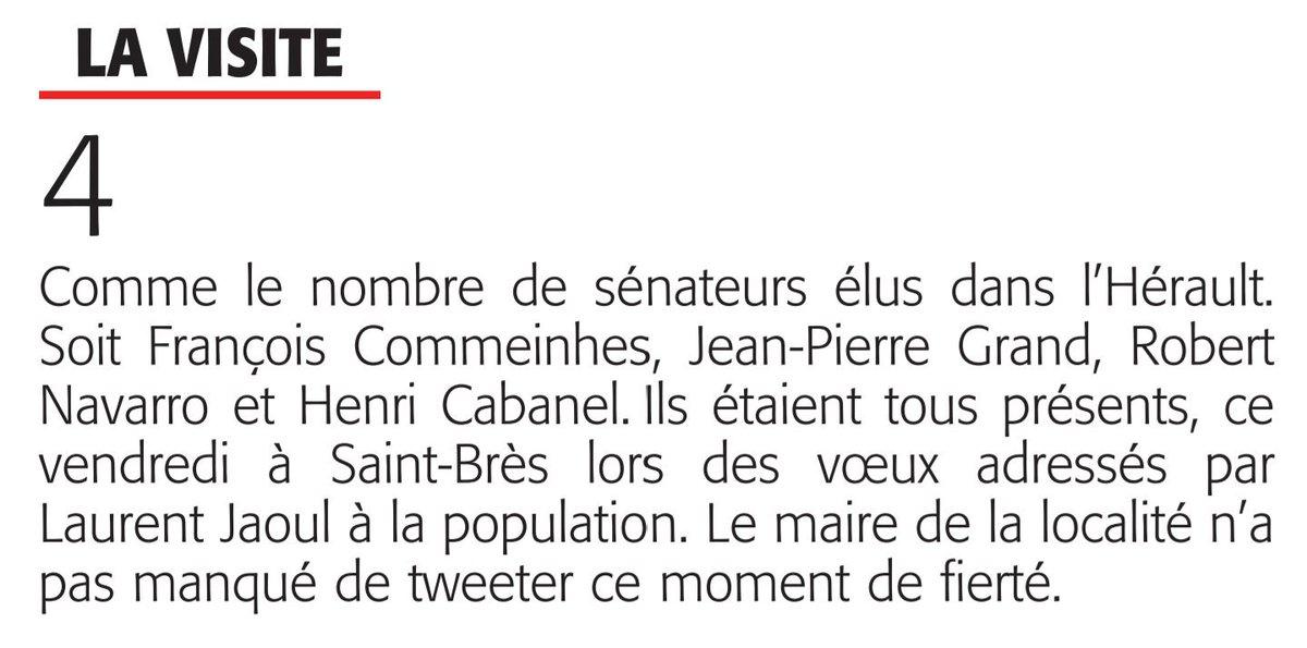 La présence des 4 sénateurs de l&#39;Hérault pour la cérémonie des vœux à #StBrès a été remarquée.Un grand merci à ces parlementaires.#Midilibre <br>http://pic.twitter.com/tU2sOBCoIR
