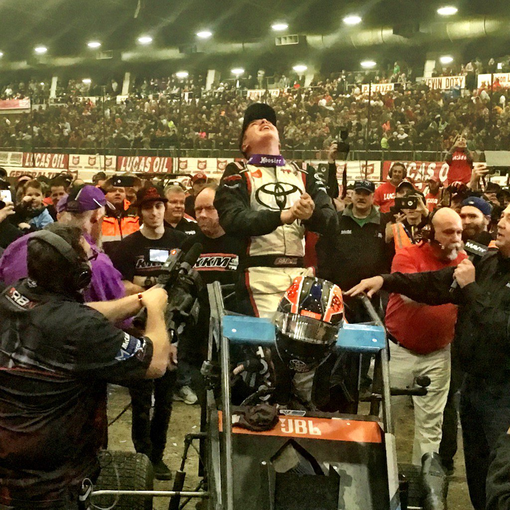 Climbing from his car, @CBellRacing exults in his long-awaited @cbnationals victory. https://t.co/sdABEiYOQK