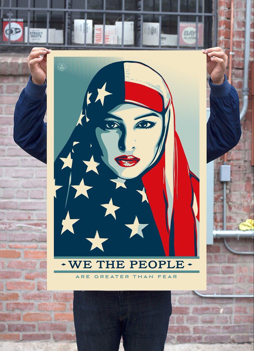 Really moved by Shepard Fairey's amazing artwork for the inauguration...  WE THE PEOPLE  ARE GREATER THAN FEAR https://t.co/wnM1GYSH8K