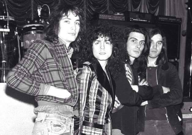 MARC BOLAN ~ T.Rex 1972 January 15th  Marc, Steve, Mickey &amp; Bill before the legendary Gliderdrome concert #MarcBolan #TRex #cosmic #rock<br>http://pic.twitter.com/3Mpor1x2go