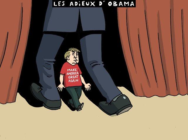 Le #dessin de Herrmann du 11 janvier @tdgch :  &quot; Les adieux d&#39; #Obama &quot; <br>http://pic.twitter.com/kYZEKu0bnP