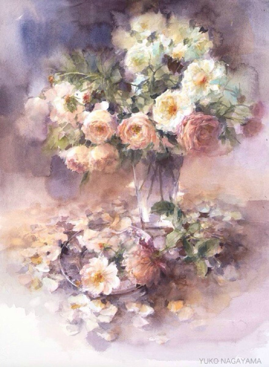 Aesthetic Sharer Zhr On Twitter Watercolor Flower Painting Japanese Watercolor Painter 永山裕子