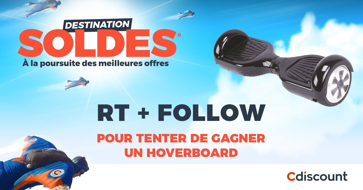 JEU   RT + Follow @Cdiscount pour tenter de gagner un hoverboard pour les #Soldes2017    L&#39;hoverboard ➜  http:// bit.ly/Hoverboard-à-g agner &nbsp; … <br>http://pic.twitter.com/PJ9nKOSln3