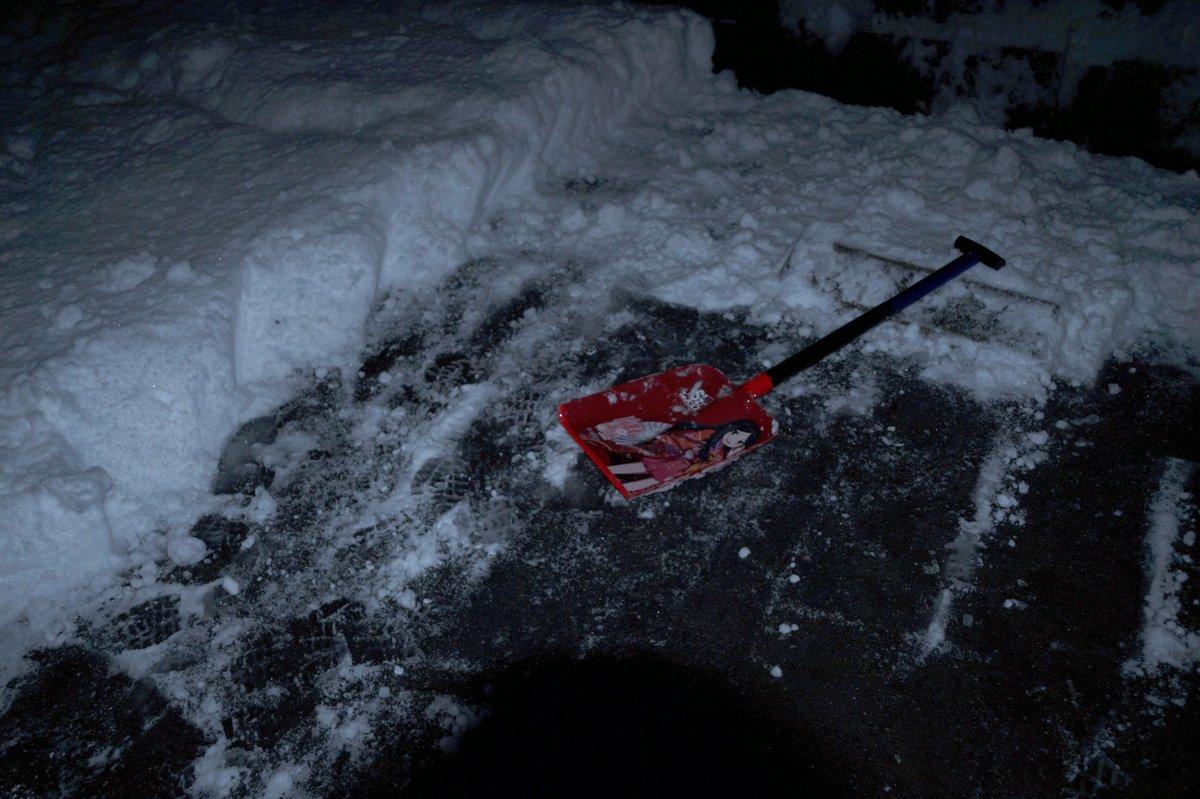 地元のインター降りたら除雪も融雪剤もない危険な道  生まれて初めて、雪かきしないと家に帰れない状態を味わった。 空に星が見えていて凍結しそうなので駐車場も綺麗にしました。  この週末のMVPはまちがいなく諏訪姫様 https://t.co/qlimGTuxro