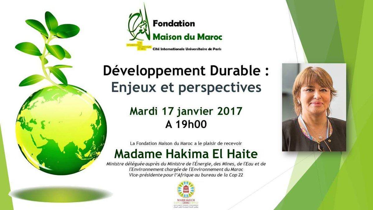 #Maroc #ActionGreen #ClimateAction #DeveloppementDurable et #ActionTime à Paris ce mardi ac Mme @HakimaElHaite VP pr #Afrique pr la @COP22<br>http://pic.twitter.com/xqBgFZG8lH