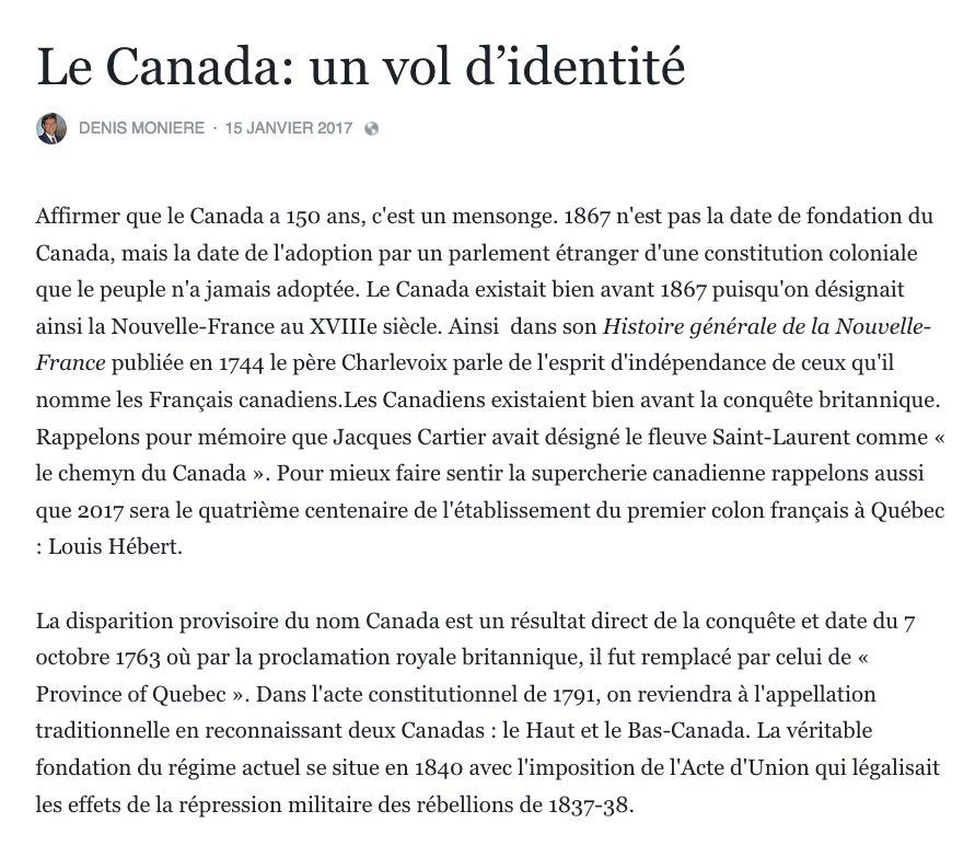 #Canada150 : un vol d'identité Denis Monière Le Canada existait bien avant 1867 puisqu&#39;on désignait ainsi la Nouvelle-France au XVIIIe siècle <br>http://pic.twitter.com/xXETUjTcKc
