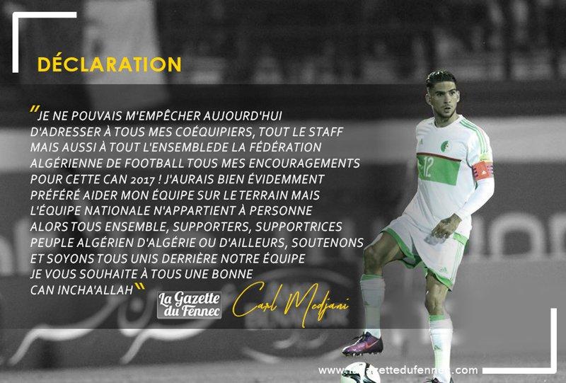 #CAN2017 Message de #CarlMedjani aux #Verts et aux #supporters <br>http://pic.twitter.com/JgIhPBCJYF