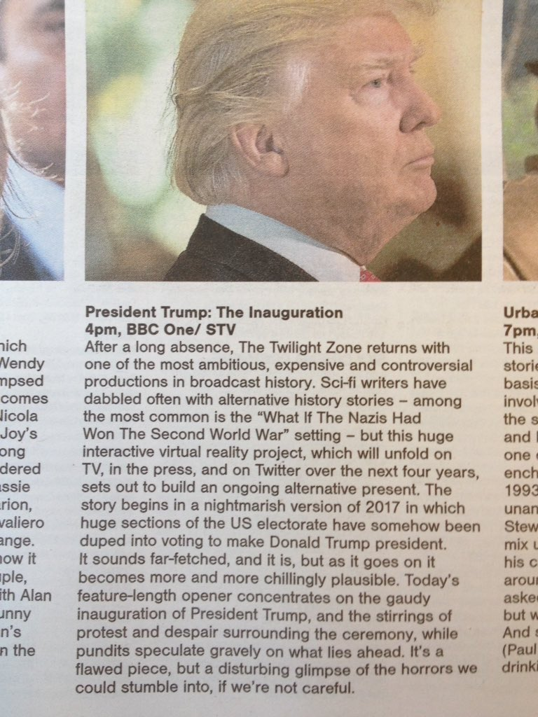 Newspaper bills Donald Trump's inauguration as an episode of 'The Twilight Zone'