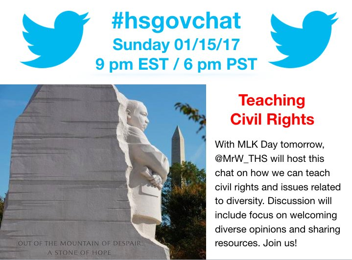Thumbnail for #hsgovchat (01/15/17): Teaching Civil Rights and Diversity in Gov Classrooms