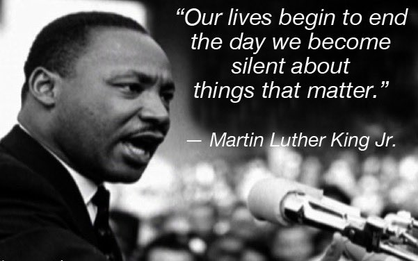 &quot;Our lives begin to end the day   we become silent about things that matter.&quot;  Martin Luther King Jr  #1u #1uMLK #HereToStay #SundayMorning<br>http://pic.twitter.com/e2VsFLQd9h