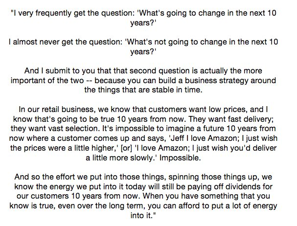 Jeff Bezos on betting on things that will always be the same: https://t.co/cywgGj0TIq