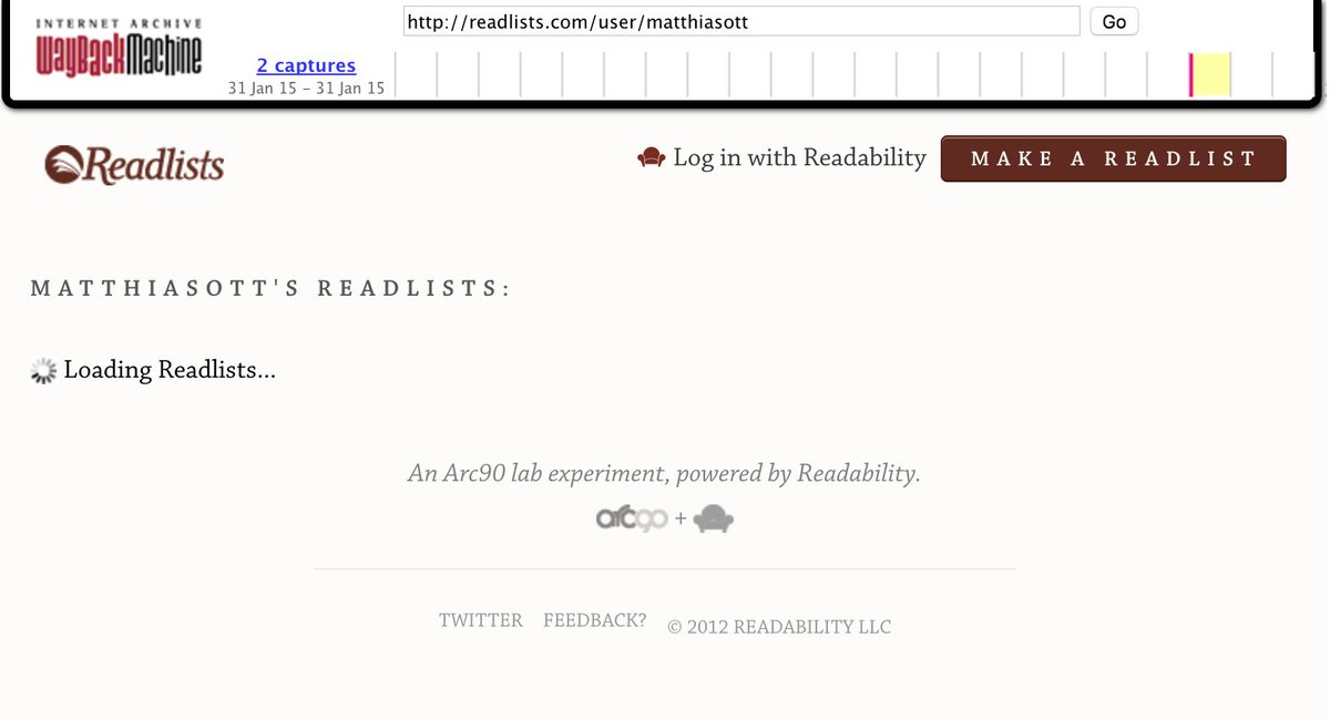 screenshot of archive.org snapshot of Readability site missing content