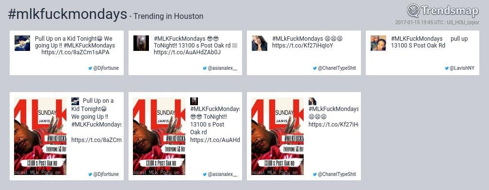 #mlkfuckmondays is now trending in #Houston  https://t.co/LexGK96ol8 https://t.co/DZlARkezAT