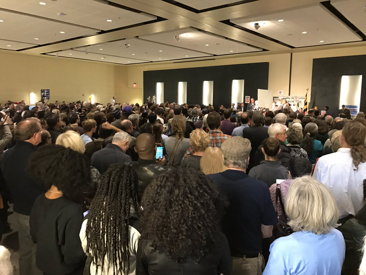 Overflowing crowd of activists &amp; voters at #HealthCareForAll #OurFirstStand rally in Bowie, MD! @AFTunion @AFLCIO #1u <br>http://pic.twitter.com/sdsu8PPoOX