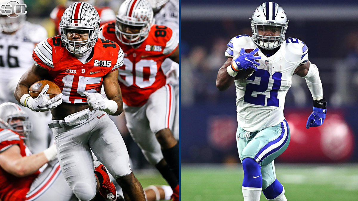 The last time Ezekiel Elliott participated in a playoff game at AT&T stadium, he went for 246 yds and 4 TDs...for the Ohio State Buckeyes.