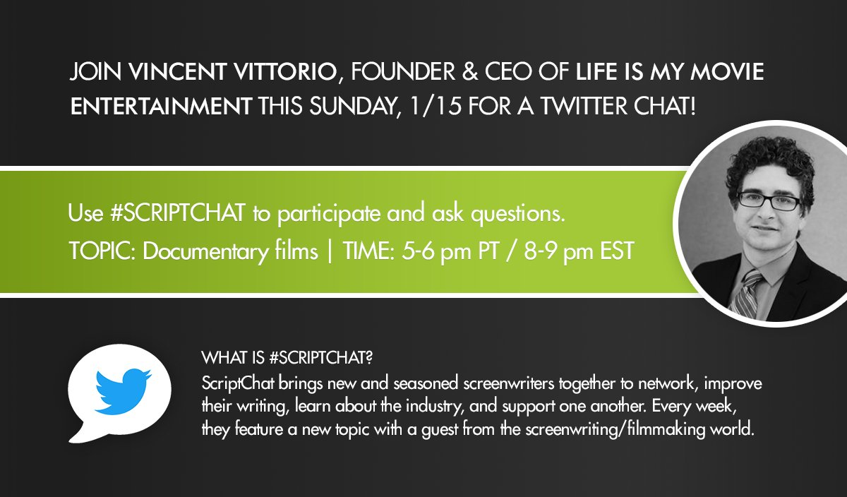 Thumbnail for #Scriptchat Transcript: Vincent Vittorio @2v Talks Documentary Filmmaking January 15, 2017