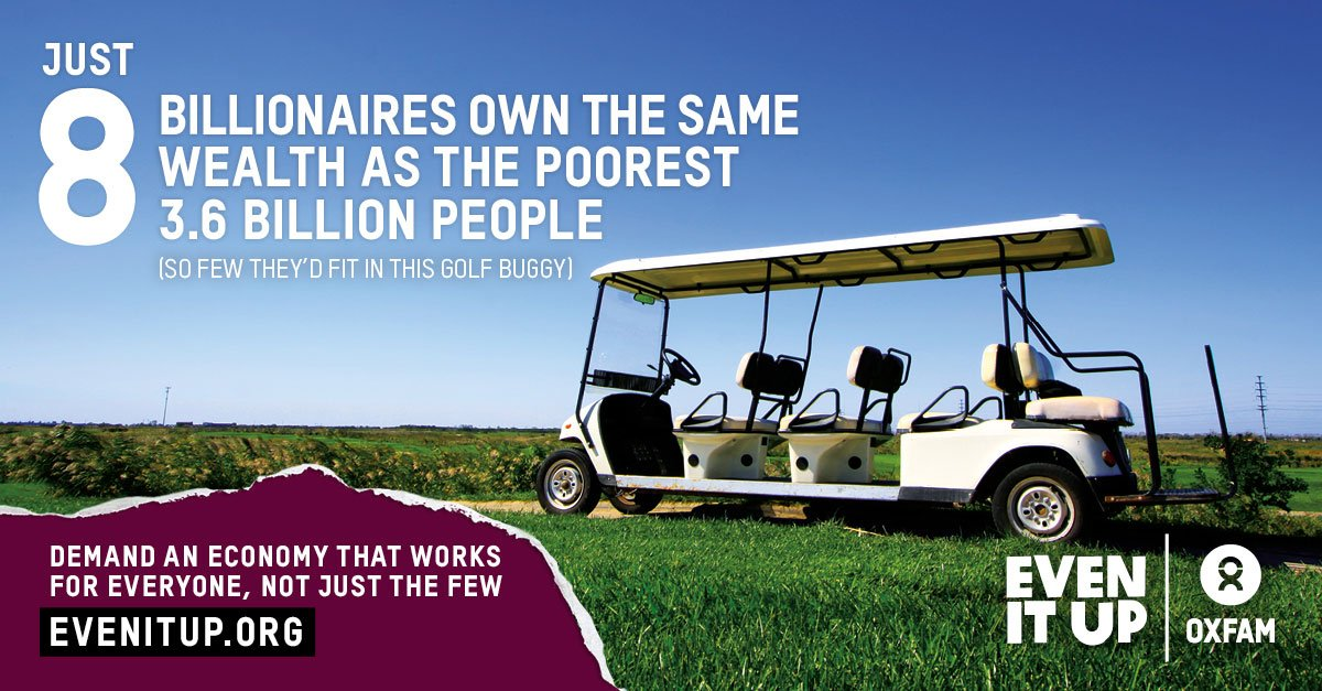 SHOCKING: Just 8 men own same wealth as half the world → https://t.co/uBaRk5HWBz #EvenItUp #inequality #wef17
