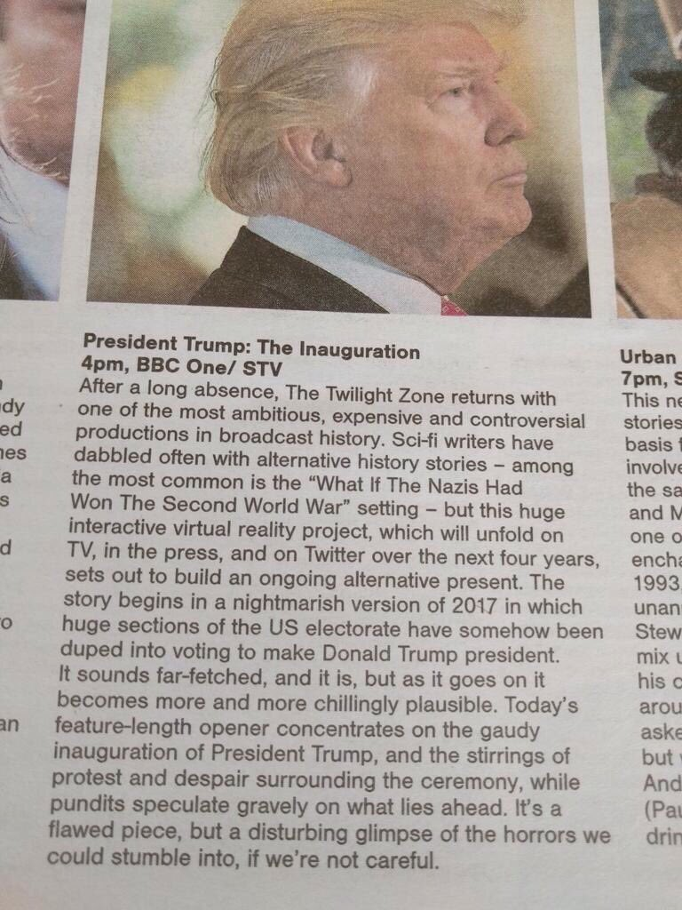 This is how the Scotland Sunday Herald describes the upcoming inauguration: A version of the Twilight Zone. https://t.co/1sqO6QrdYg