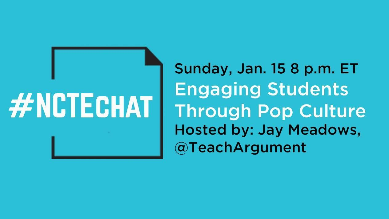 """Tonight's topic is """"Engaging Students Through Pop Culture."""" #NCTEchat https://t.co/BG2qhJQCRD"""
