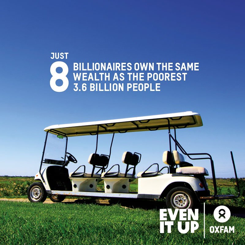 Just 8 men own the same wealth as the poorest half of the population, report says