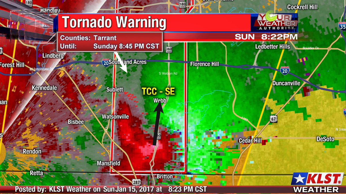 (8:23pm) Confirmed tornado along 360 in Mansfield is moving directly for TCC- Southeast Campus. Take cover! #TXwx https://t.co/5PVABsVAGj