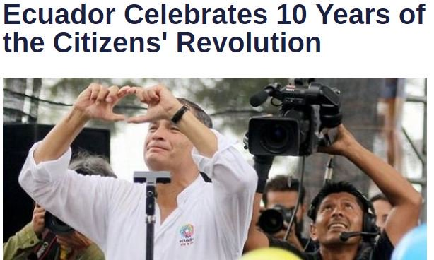 Ten years of social and economic progress in #Ecuador.  http://www. telesurtv.net/english/news/E cuador-Celebrates-10-Years-of-the-Citizens-Revolution-20170115-0014.html &nbsp; … <br>http://pic.twitter.com/qihf7WLKVE