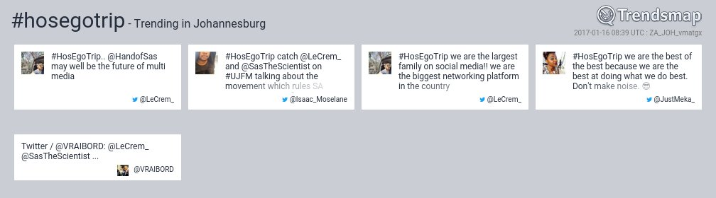 #hosegotrip is now trending in #Johannesburg  https://t.co/VGUrFH0848 https://t.co/BXZNBLTOJB