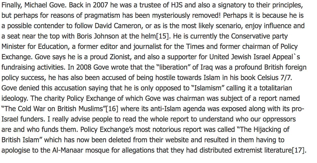 I see #Gove is in the news Just a reminder of who he is &amp; what he stands for.  https://www. islam21c.com/politics/frien ds-of-israel-for-sale-the-times-tories-and-think-tanks/ &nbsp; …  #IsraelLobby #NeoCon #HJS #Islamophobe<br>http://pic.twitter.com/nLqVkWwnNZ