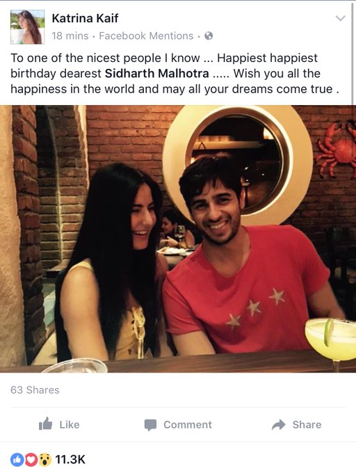 Katrina Kaif wishes Sidharth Malhotra Happy Birthday on Facebook-