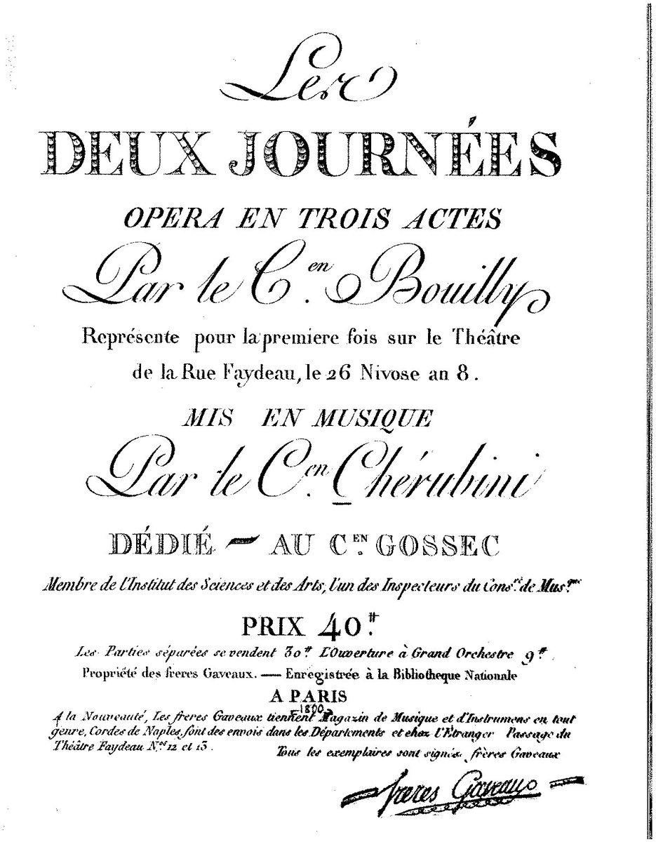 #Today in 1800 FP of Luigi #Cherubini&#39;s opera Les deux Journées at the Théatre Feydeau in Paris. #MusicHistory #classicalmusic<br>http://pic.twitter.com/KZLuZKAahv