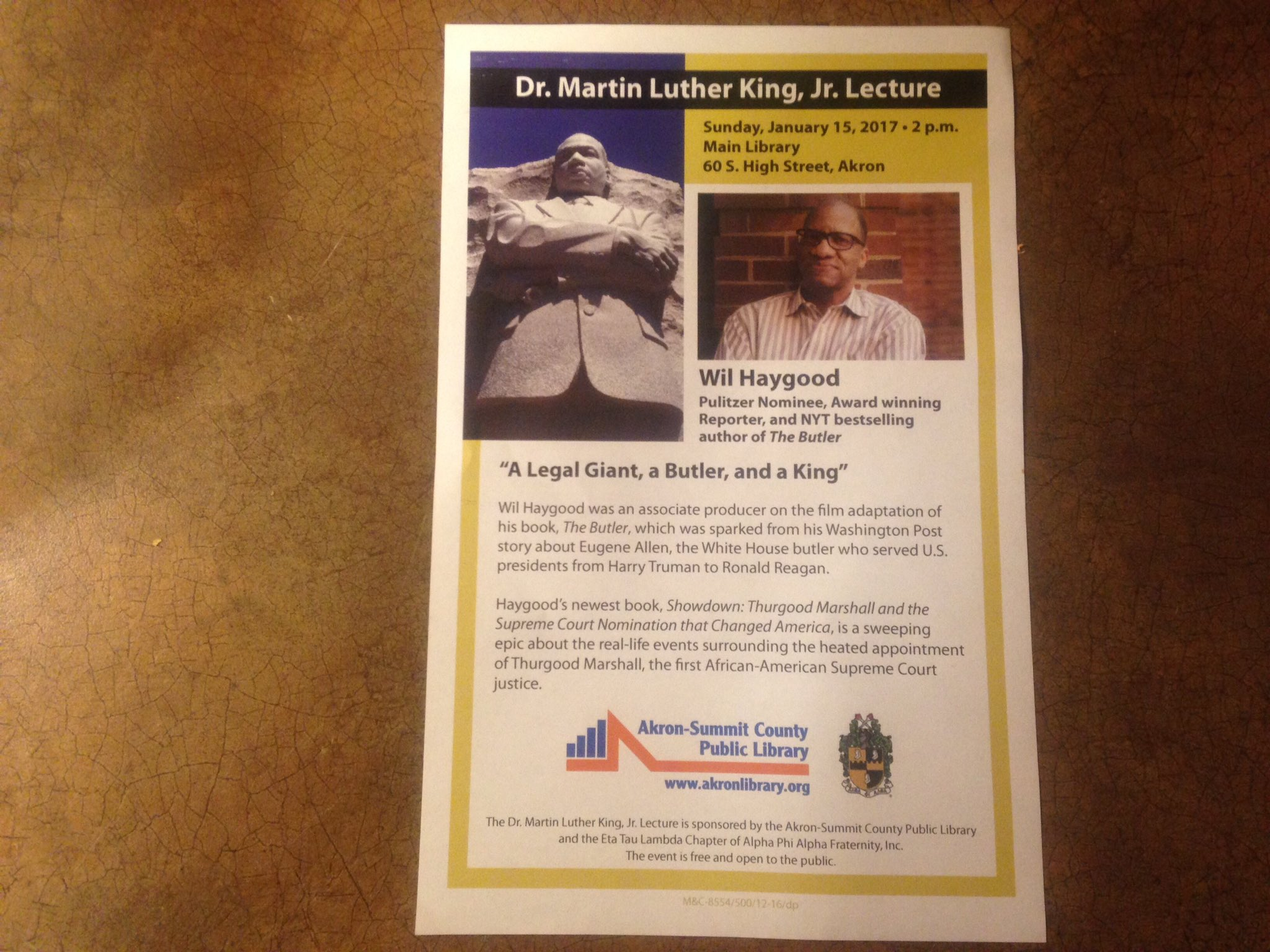 Great program on MLK Day thank you Mr.Wil Haygood At the Summit County public library on Sunday https://t.co/5pBd0Khv01