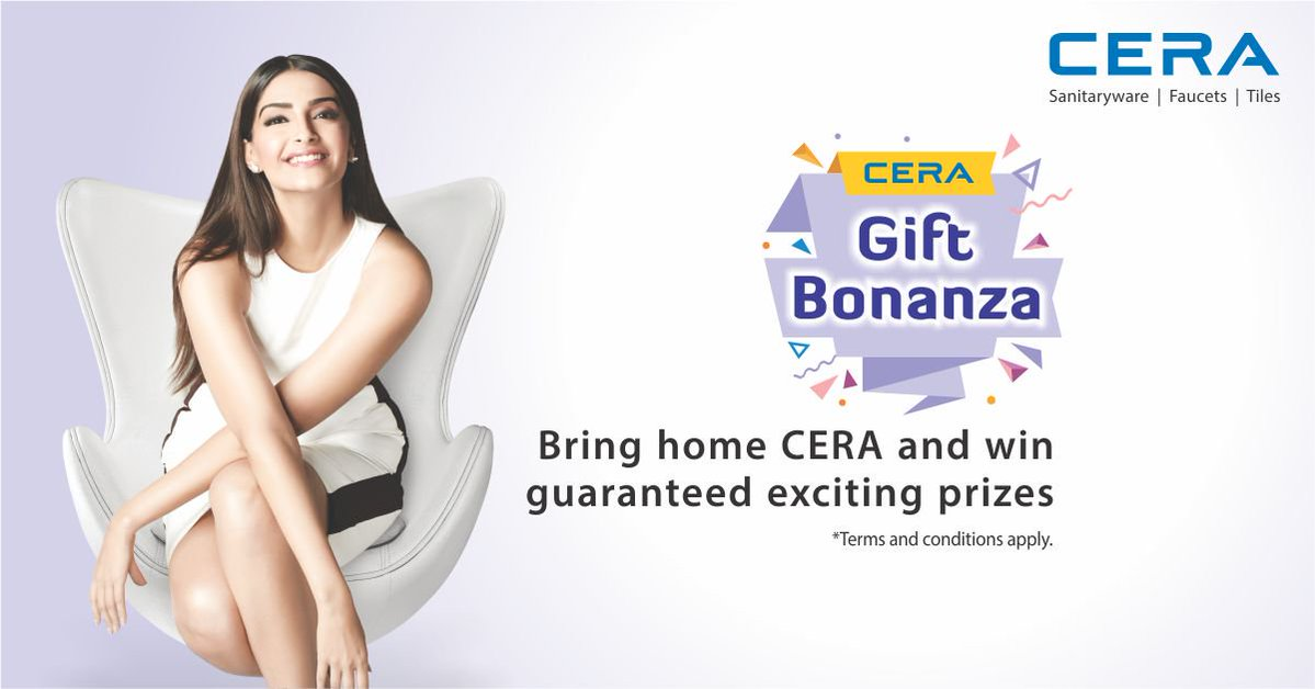 #Win guaranteed exciting prizes. Buy #CERA products &amp; take home assured gifts. #contest #CERAGiftBonanza  visit:  https://www. cera-india.com/consumerscheme  &nbsp;  <br>http://pic.twitter.com/7OC87sF2Rs