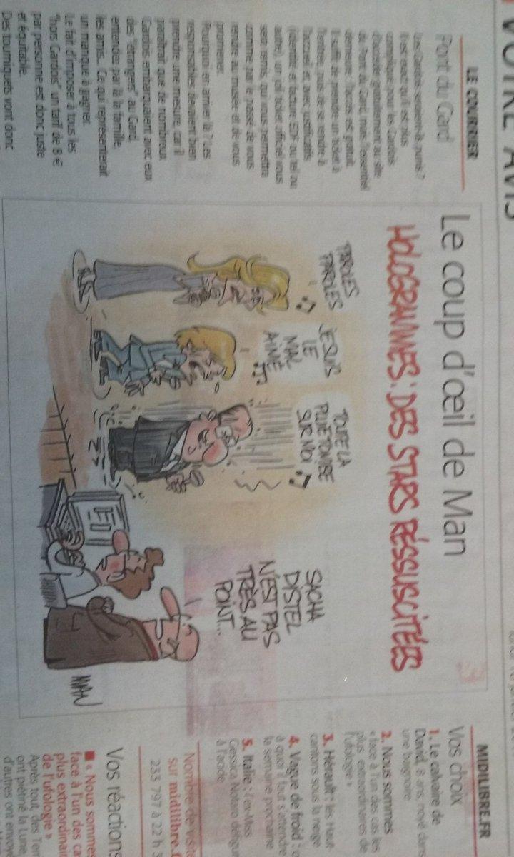#Presse Énorme dessin de Man ce matin dans #MidiLibre <br>http://pic.twitter.com/ZKRPkl1hRy