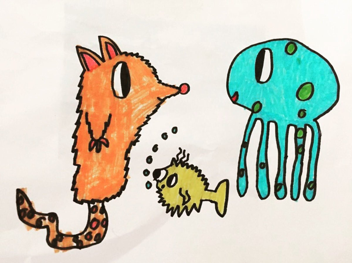 Wonderful #fanart by young William from #southlondon. Love this so much! #octocutie #pufferfish #puffy #lucytheoctopus #octopus #felttips<br>http://pic.twitter.com/9LBeJr5kjV