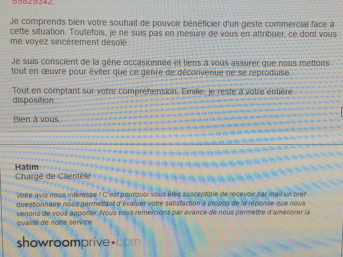 Quand @ShowroompriveFR te refuse un geste commercial, sans explication, alors qu&#39;ils sont en tort! #itsajoke #SHOWROOM #showroomprive <br>http://pic.twitter.com/uo4qweVWAF