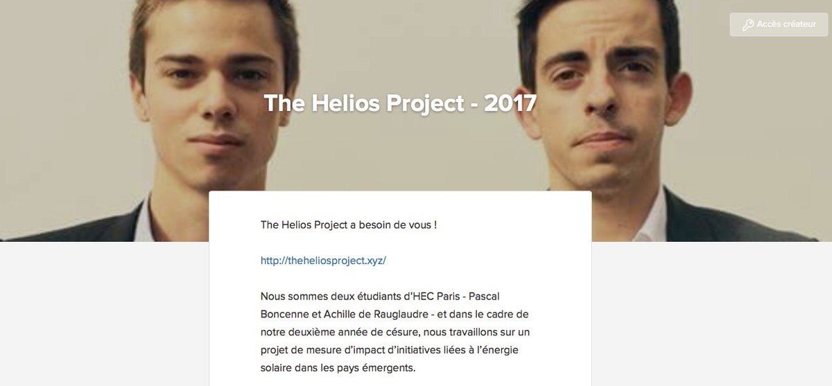 #solar : Soutenons des initiates pour l&#39;#electification des pays emergents : The Helios Project 2017  https:// cagnotte.me/the-helios-pro ject-2017 &nbsp; …  via @cagnotteme<br>http://pic.twitter.com/voNOTFabZl