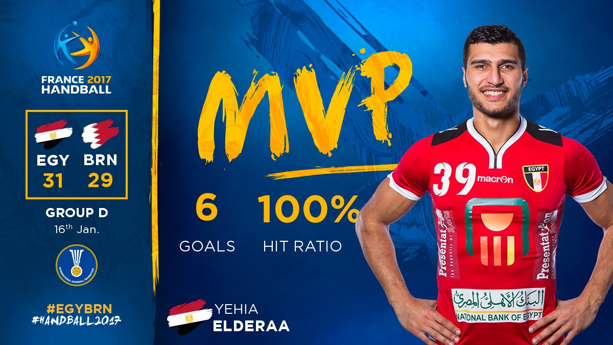 A perfect game for Yehia Elderaa 🇪🇬 MVP of the game with 6/6 👌 #EGYBRN...