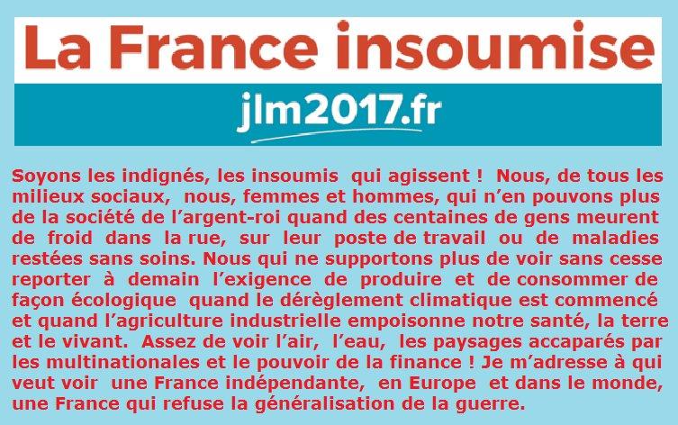 Insoumis, regroupez-vous, rejoignez #JLM2017 Venez construire une vraie alternative aux #Libéraux (PS-LR-FN) <br>http://pic.twitter.com/YeMsOin8C0