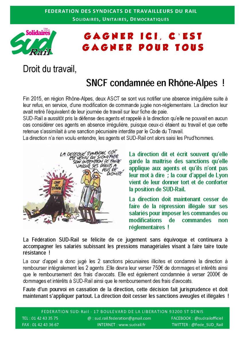 Droit du #travail  #SNCF condamnée en Rhône-Alpes ! Stop aux #sanctions aveugles et illégales. Gagner ici, c&#39;est gagner pour #tous<br>http://pic.twitter.com/1lyQSdl5m1