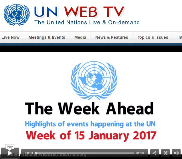 Video: This week at the @UN, starting Jan.15th. @UNwebcast: https://t.co/AGvovLEbnk https://t.co/tqKwcw9Hnh