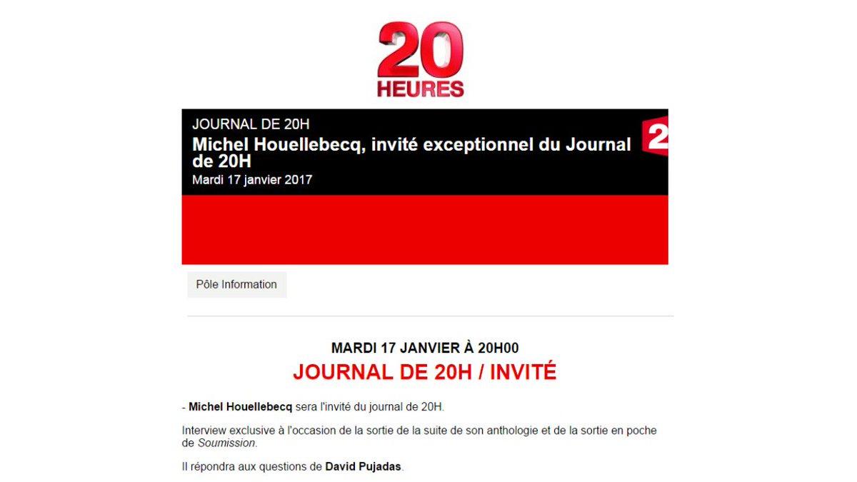 #invité exceptionnel  / David Pujadas reçoit Michel Houellebecq dans le #JT20h sur #france2 demain soir mardi 17 janvier <br>http://pic.twitter.com/jmFHDZDTzP