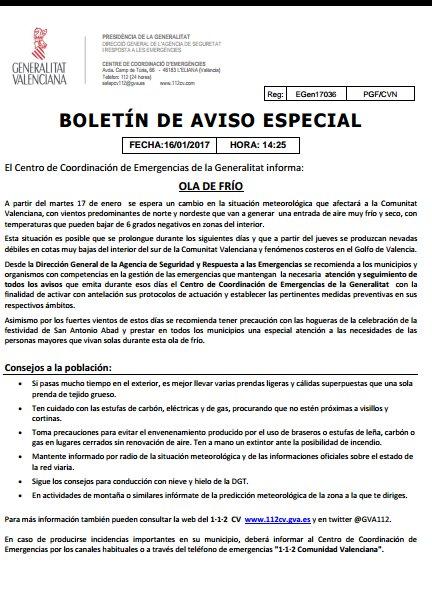 El CCE emite boletín de aviso especial a los municipios ante la llegad...