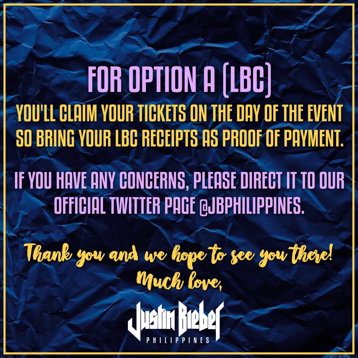 Justin Bieber Ph On Twitter You Can Start Availing Tickets Via Lbc