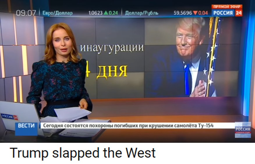 #Russia&#39;s state TV is overjoyed about #Trump&#39;s commentary, counting days to his inauguration. Title of the segment: &quot;Trump Slapped the West&quot; <br>http://pic.twitter.com/7kZUOpVhLY
