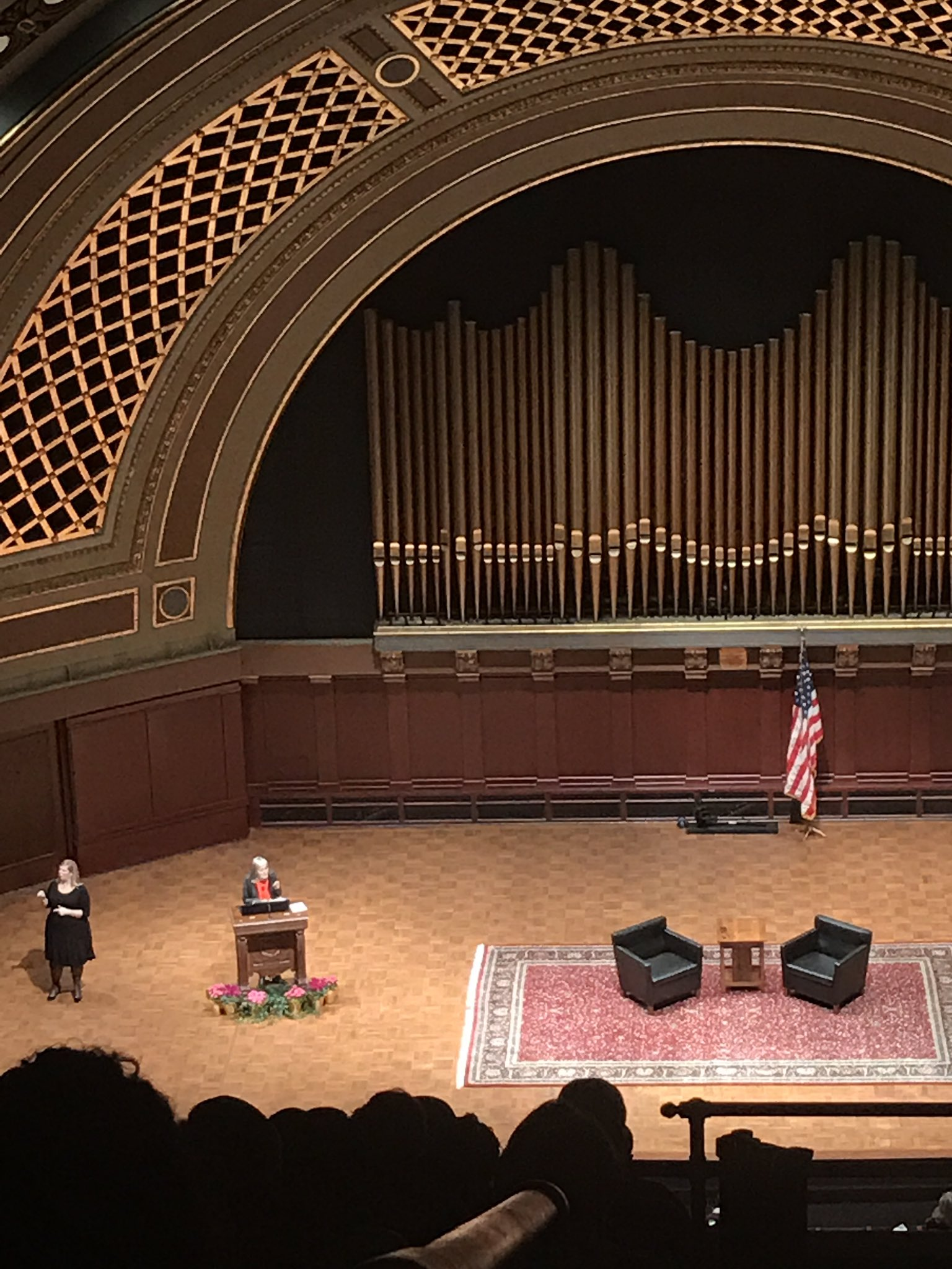 """Amy Goodman on fact-based journalism and John Lewis' history of """"action"""", on KKK in 2017 and the legacy of Dr. King. #UMichMLKDay2017 ❤️👏 https://t.co/cz1Gu55xvx"""