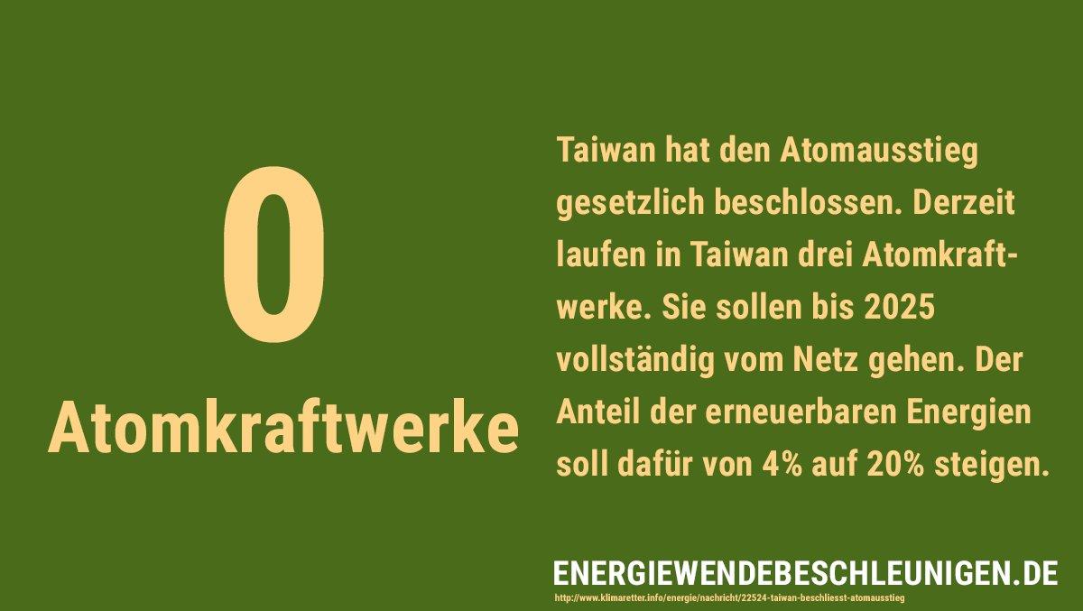 Mit guten Vorsätzen ins neue Jahr! 🎉 #Taiwan beschließt #Atomausstieg und will mehr #Erneuerbare im Netz. Weiter so!